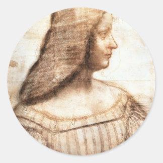Portrait of Isabela d'Este Classic Round Sticker