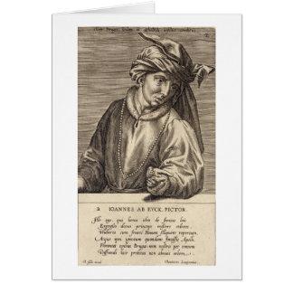 Portrait of Jan van Eyck (c.1390-1441) plate 2 in Card
