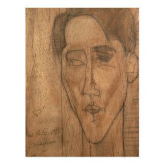 Portrait of Jean Cocteau (1889-1963) 1917 (pencil Postcard