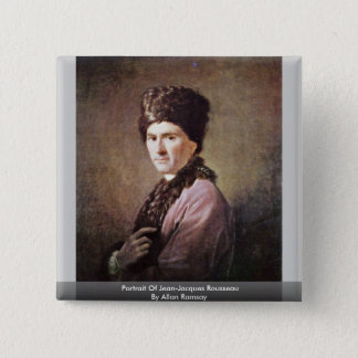 Portrait Of Jean-Jacques Rousseau By Allan Ramsay 15 Cm Square Badge
