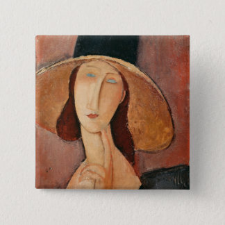 Portrait of Jeanne Hebuterne in a large hat 15 Cm Square Badge