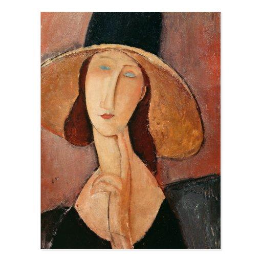 Portrait of Jeanne Hebuterne in a large hat Postcards