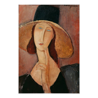 Portrait of Jeanne Hebuterne in a large hat Poster