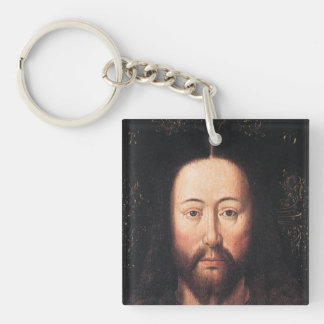 Portrait of Jesus Christ by Jan van Eyck Double-Sided Square Acrylic Key Ring