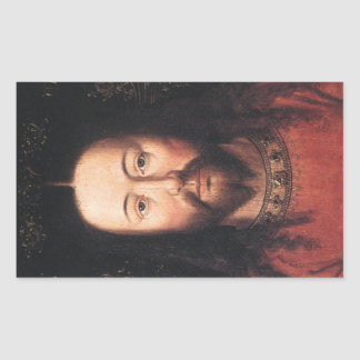 Portrait of Jesus Christ by Jan van Eyck Rectangular Sticker