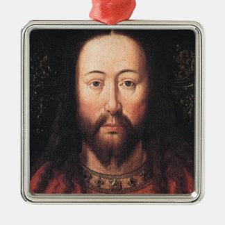 Portrait of Jesus Christ by Jan van Eyck Silver-Colored Square Decoration