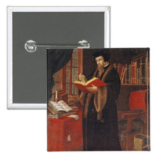 Portrait of John Calvin 15 Cm Square Badge