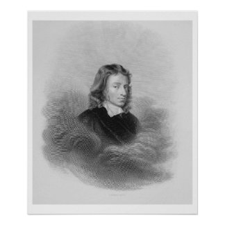 Portrait of John Milton (1608-74) engraved by the Poster