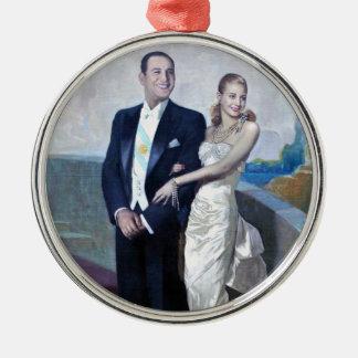 Portrait of Juan Domingo Perón and Eva Duarte Metal Ornament