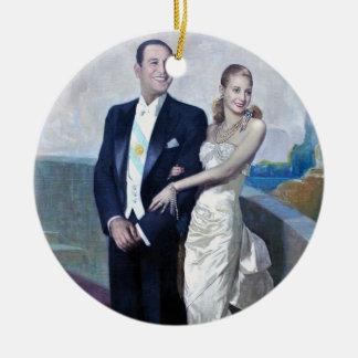 Portrait of Juan Domingo Perón and Eva Duarte Round Ceramic Decoration