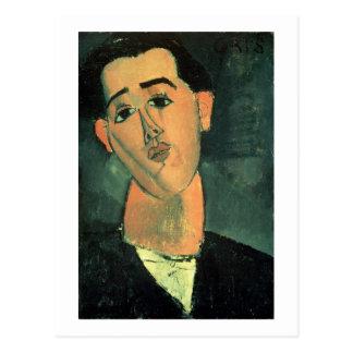 Portrait of Juan Gris (1887-1927) 1915 (oil on can Postcard