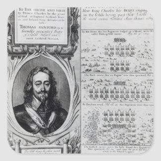 Portrait of King Charles I with diagrams Square Sticker