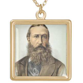 Portrait of Leopold II (1835-1909), King of Belgiu Gold Plated Necklace