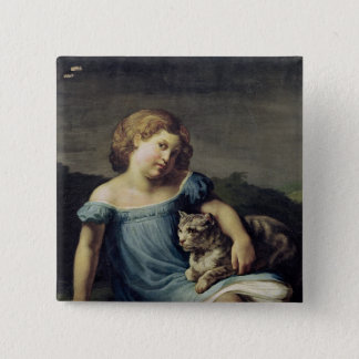 Portrait of Louise Vernet as a Child, 1818-19 15 Cm Square Badge