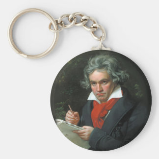 Portrait of Ludwig von Beethoven Basic Round Button Key Ring