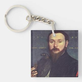 Portrait of Man and Falcon Acrylic Keychain