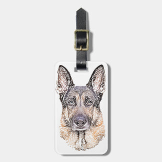 Portrait of Man's Best Friend German Shepherd Dog Luggage Tag