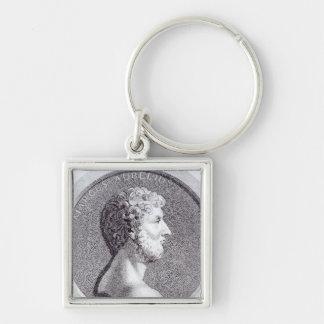 Portrait of Marcus Aurelius Silver-Colored Square Key Ring