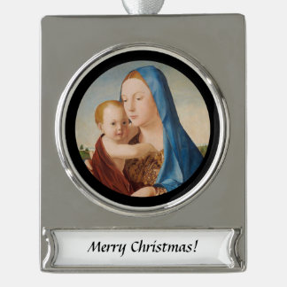 Portrait of Mary and Baby Jesus Silver Plated Banner Ornament