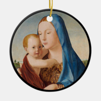 Portrait of Mary Holding  Baby Jesus Ceramic Ornament