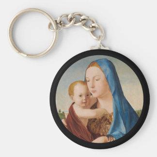 Portrait of Mary Holding  Baby Jesus Key Ring