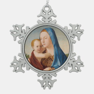 Portrait of Mary Holding  Baby Jesus Pewter Snowflake Decoration
