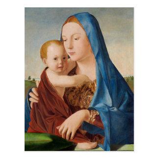 Portrait of Mary Holding  Baby Jesus Postcard