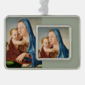 Portrait of Mary Holding  Baby Jesus Silver Plated Framed Ornament