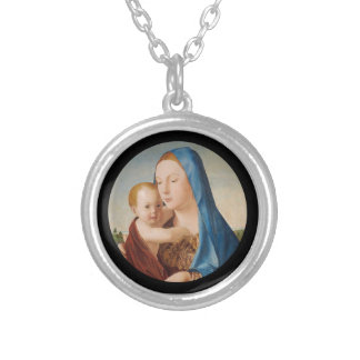 Portrait of Mary Holding  Baby Jesus Silver Plated Necklace