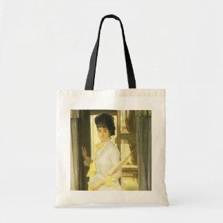 Portrait of Miss Lloyd by Tissot, Victorian Art Canvas Bag