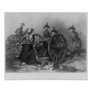 Portrait of Molly Pitcher loading a cannon Poster