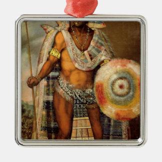 Portrait of Montezuma II Silver-Colored Square Decoration