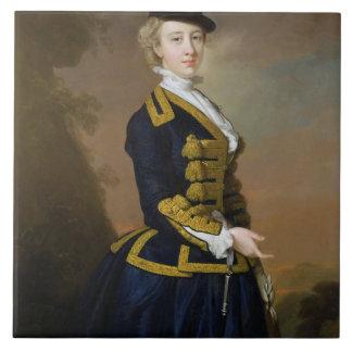 Portrait of Nancy Fortesque wearing a dark blue ri Large Square Tile