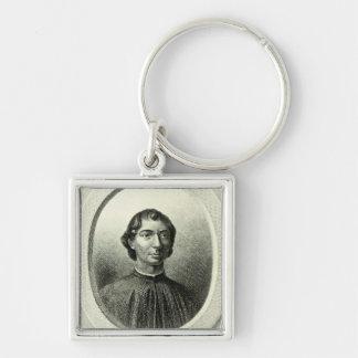 Portrait of Niccolo Machiavelli Silver-Colored Square Key Ring
