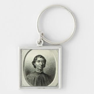 Portrait of Niccolo Machiavelli Silver-Colored Square Key Ring