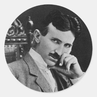 Portrait of Nikola Tesla Round Sticker