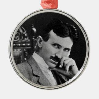 Portrait of Nikola Tesla Silver-Colored Round Decoration