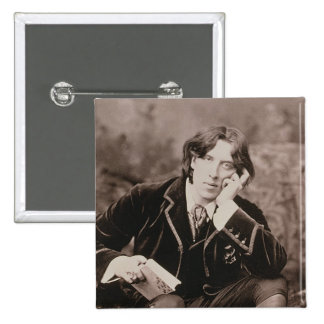 Portrait of Oscar Wilde (1854-1900), 1882 (b/w pho 15 Cm Square Badge