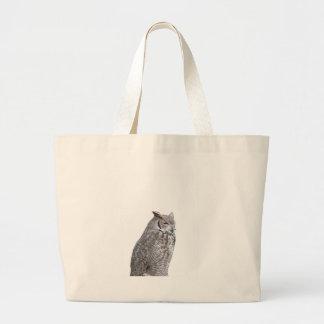 Portrait of owl isolated on white background jumbo tote bag