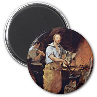 Portrait Of Pat Lyon At The Forge By Neagle John 6 Cm Round Magnet