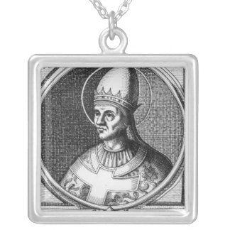 Portrait of Pope Gregory VII Silver Plated Necklace