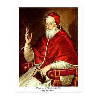 Portrait Of Pope Pius V. By El Greco Postcard