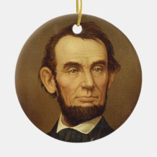 Portrait of President Abraham Lincoln Round Ceramic Decoration