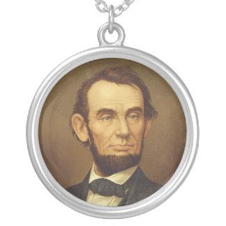Portrait of President Abraham Lincoln Round Pendant Necklace