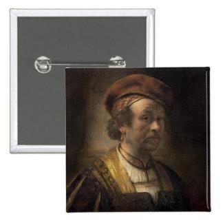 Portrait of Rembrandt, 1650 (oil on canvas) 15 Cm Square Badge