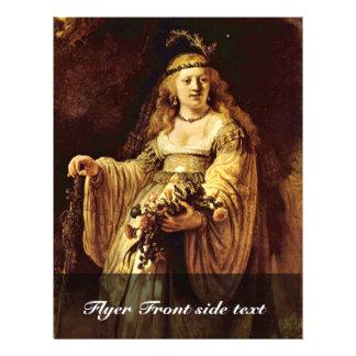 Portrait Of Saskia As Flora By Rembrandt Harmenszo 21.5 Cm X 28 Cm Flyer