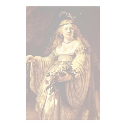 Portrait Of Saskia As Flora By Rembrandt Harmenszo Custom Stationery