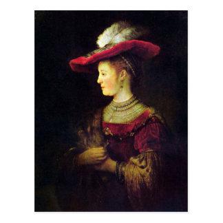 Portrait of Saskia  by Rembrandt Postcard