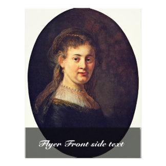 Portrait Of Saskia Van Uylenburgh. By Rembrandt 21.5 Cm X 28 Cm Flyer