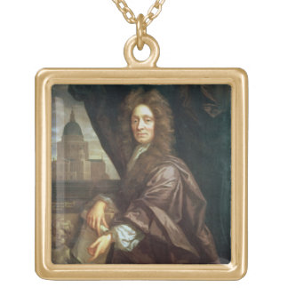 Portrait of Sir Christopher Wren (oil on canvas) Gold Plated Necklace